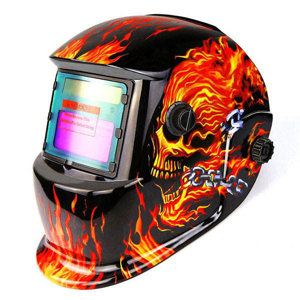 Dabu Solar Powered Flaming Skull Welding Helmet Auto Darkening